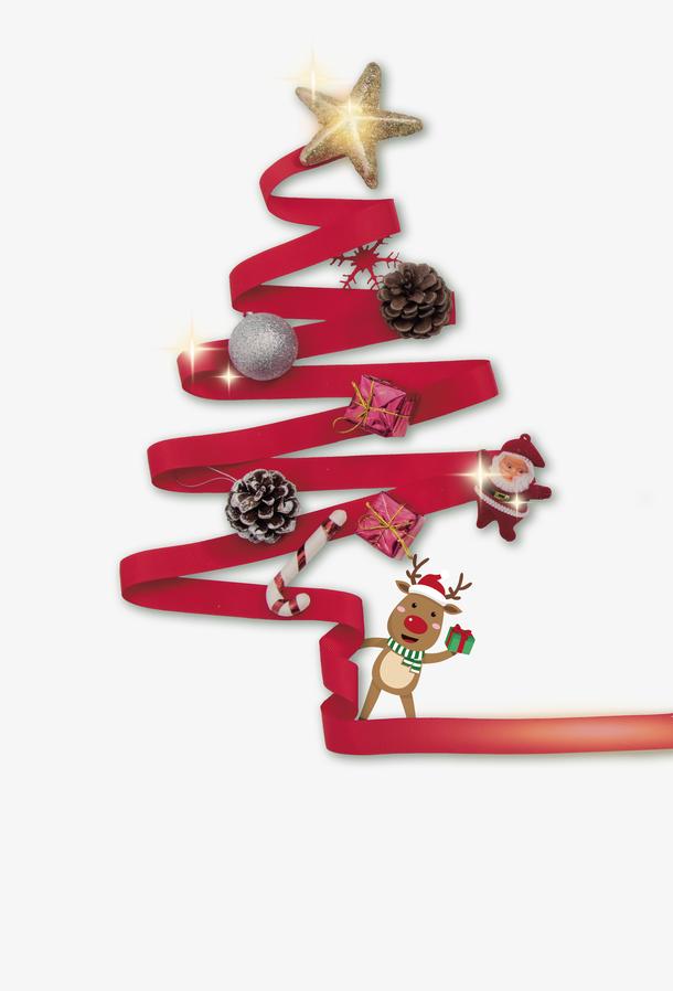 彩带圣诞树手工制作
