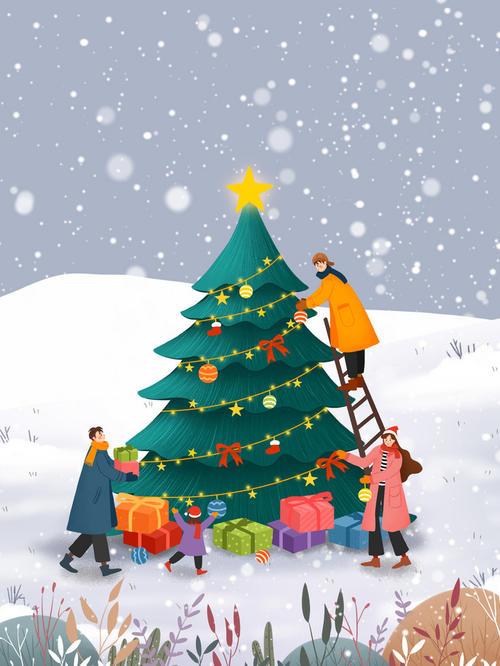 装饰圣诞树场景手绘圣诞背景图
