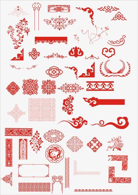 红色中式古典花纹边框
