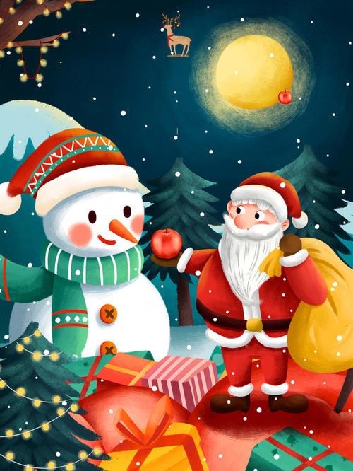 手绘雪人圣诞节圣诞老人背景图