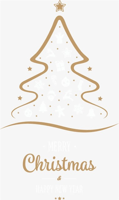 圣诞树手绘线条设计