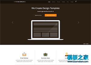深棕色宽屏平面设计企业官网模板