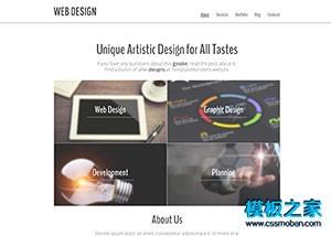 极简设计风web网站模板