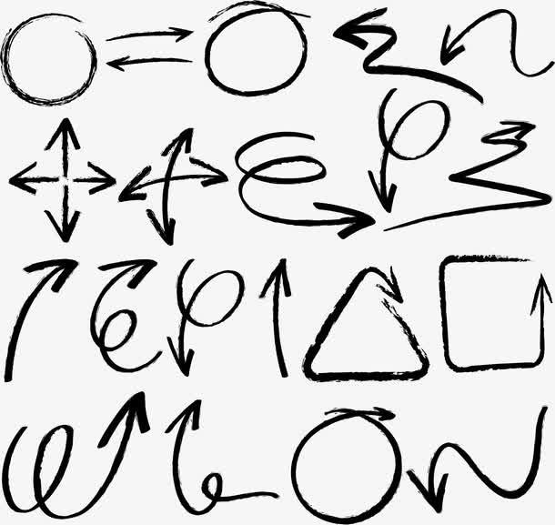 手绘曲线商务箭头图标