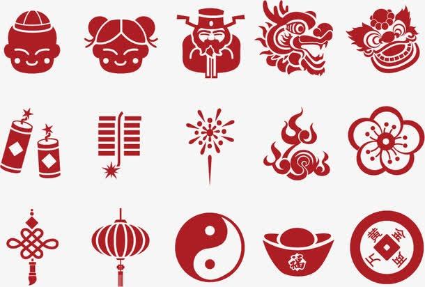新春元旦中国元素图标