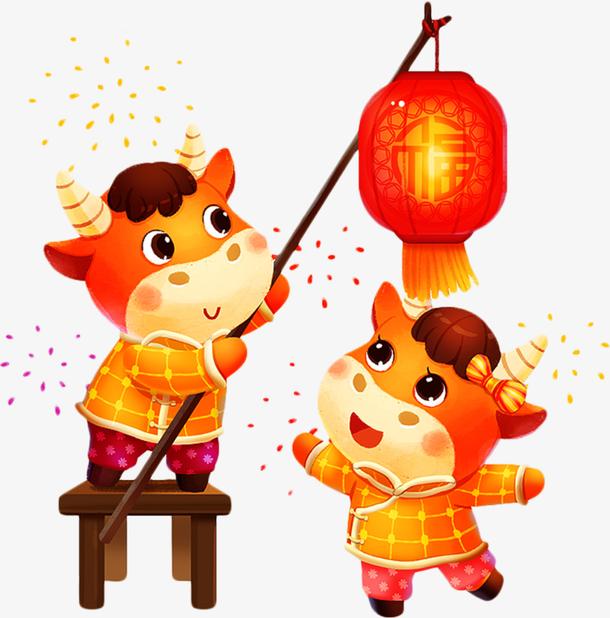 牛打红灯笼新年图画