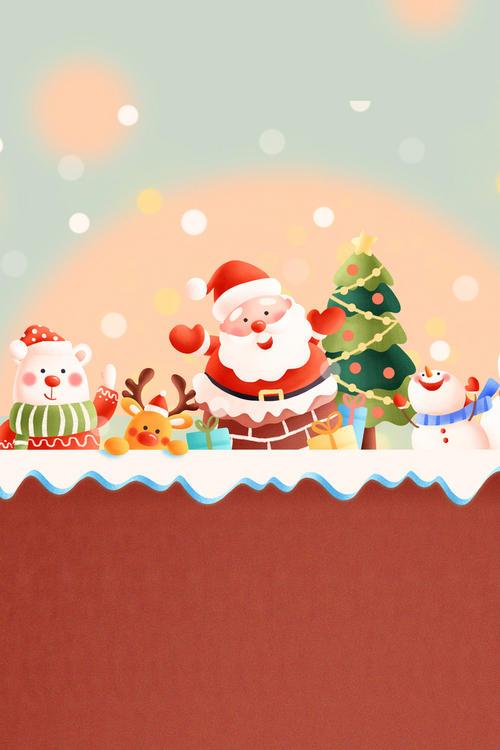 圣诞可爱卡通形象主题背景图
