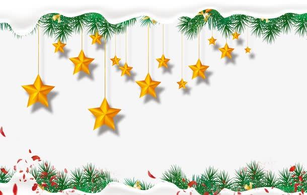 圣诞节绿叶星星边框