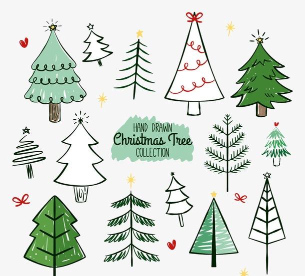 圣诞树水彩手绘插画