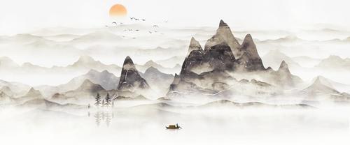 水墨元素山水背景图