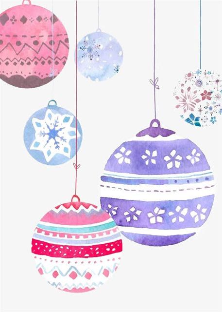 水彩手绘圣诞彩球装饰元素
