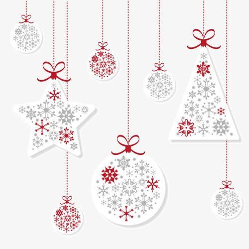 白色圣诞节吊球挂饰免抠