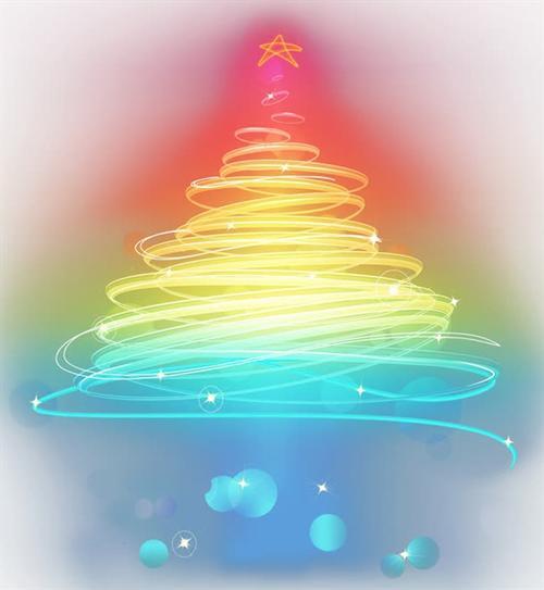 彩色渐变发光圣诞树