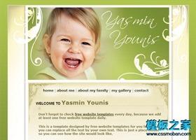 绿色花纹婴儿网页模板