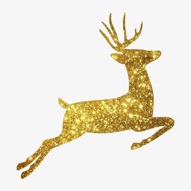 奔跑的金色圣诞麋鹿