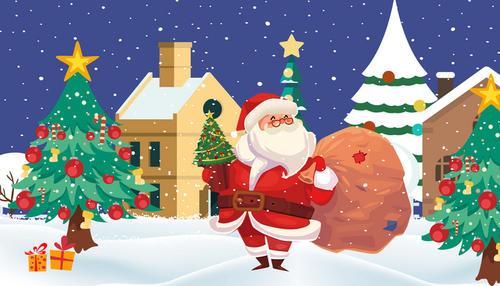 圣诞节手绘圣诞老人背景