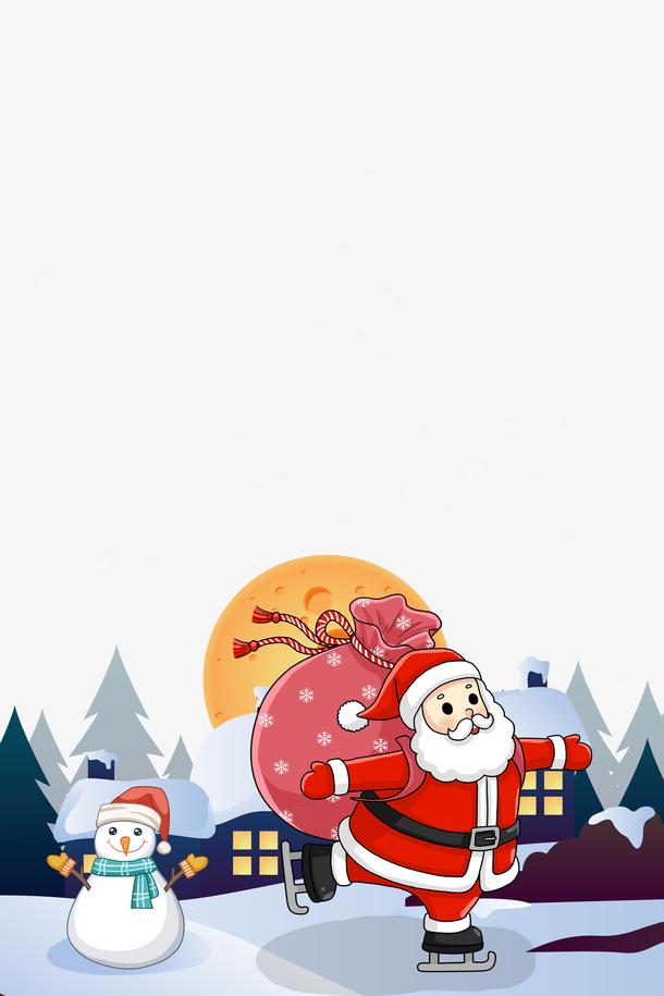 圣诞老人雪人插画
