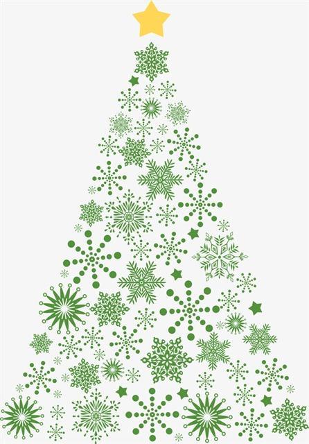绿色雪花圣诞树圣诞元素