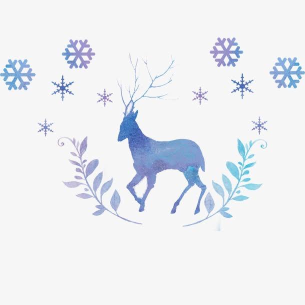 蓝色麋鹿圣诞节元素