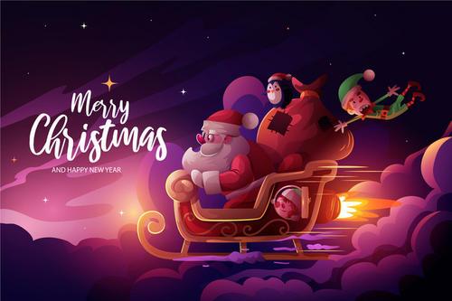 圣诞节手绘插画海报背景