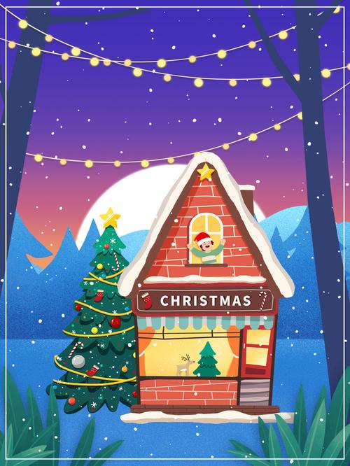 手绘圣诞插画背景图