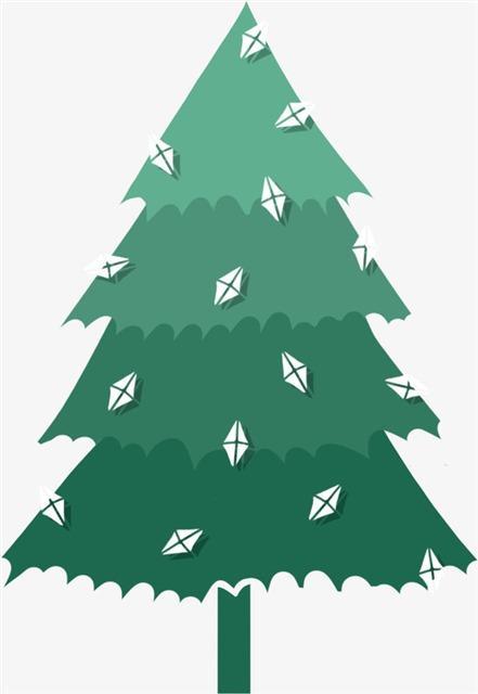 绿色剪纸圣诞树免抠元素