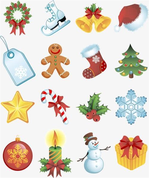 圣诞彩色矢量小元素