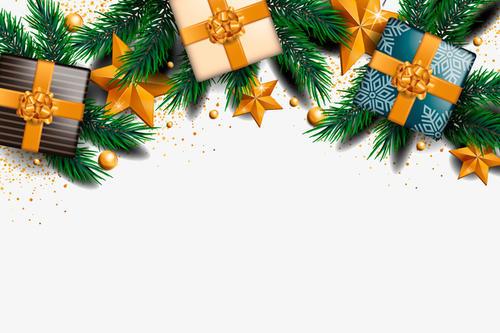 矢量礼盒圣诞节装饰元素
