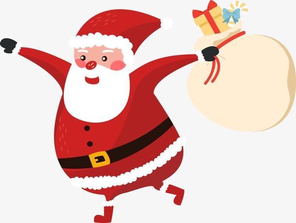 圣诞老人礼物袋卡通免抠