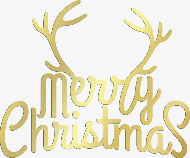 圣诞快乐金色鹿角英文字体