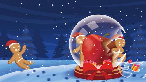 圣诞节水晶球元素背景图