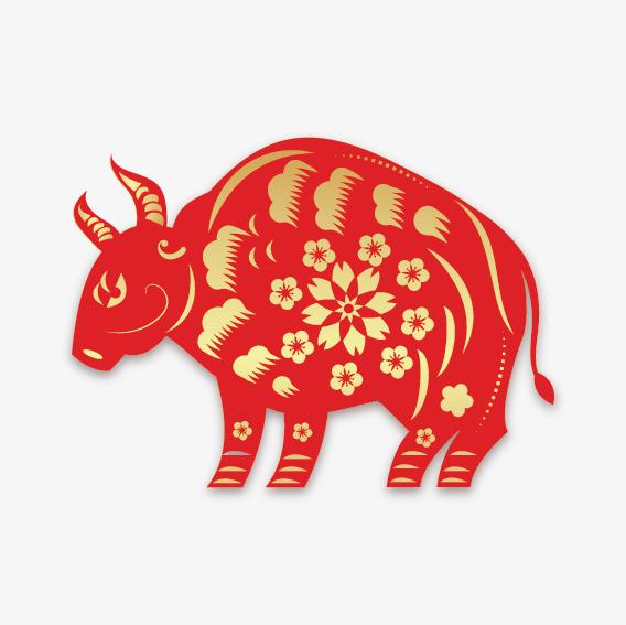 新年烫金剪纸牛