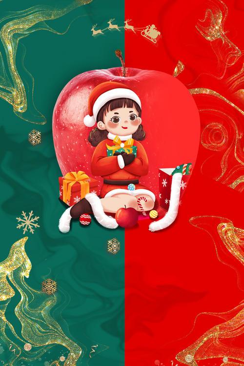 卡通人物圣诞节背景图