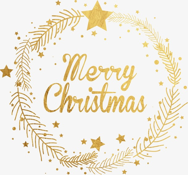 圣诞节金色花环装饰元素