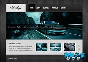 黑色木纹背景汽车专题html模板