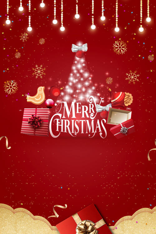 圣诞节红色庆祝背景图