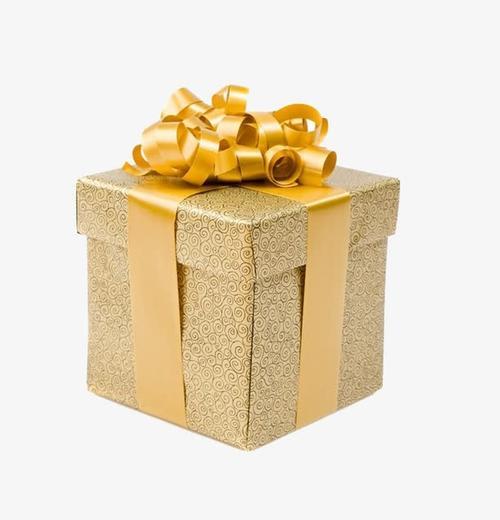 圣诞金色礼物盒免抠
