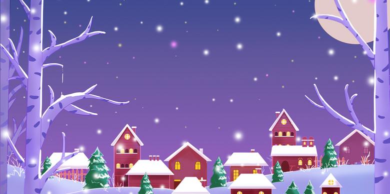 圣诞节雪景画