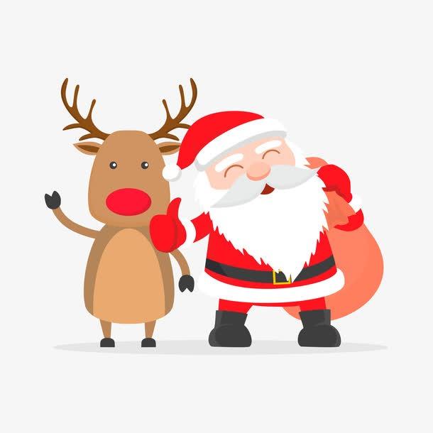 手绘麋鹿圣诞老人PNG免抠
