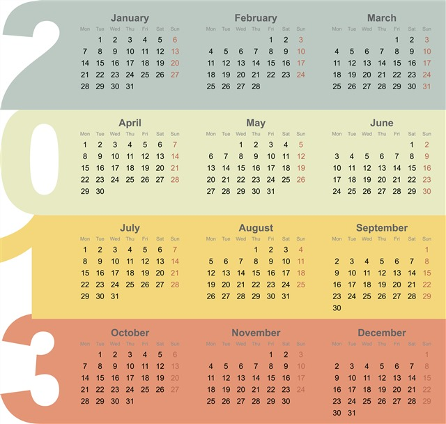 笔记本日历表内页