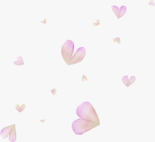 粉色爱心花瓣漂浮元素
