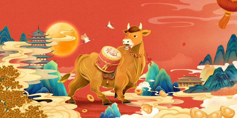 2021年牛年年画背景图片