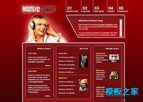 红色质感音乐商店CSS模板