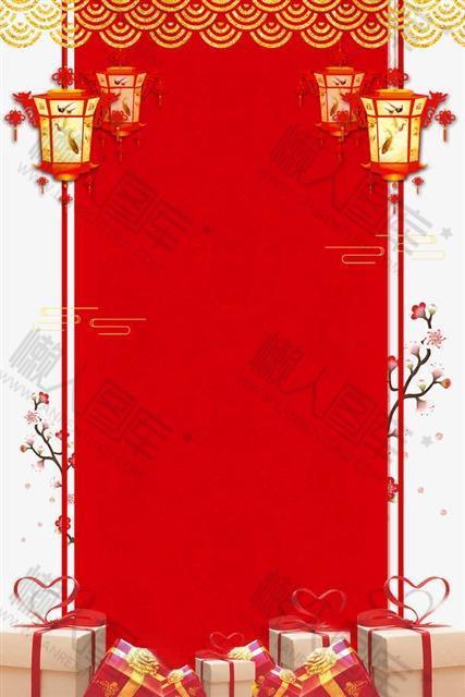 花卉灯笼新年主题背景