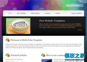 彩色背景企业网站模板