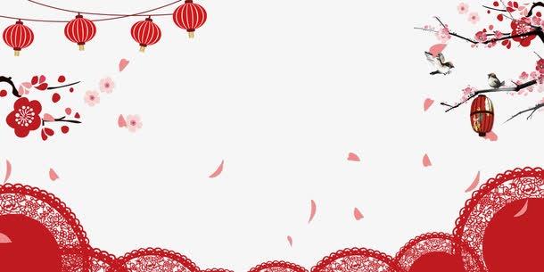 红色古典花边新年背景