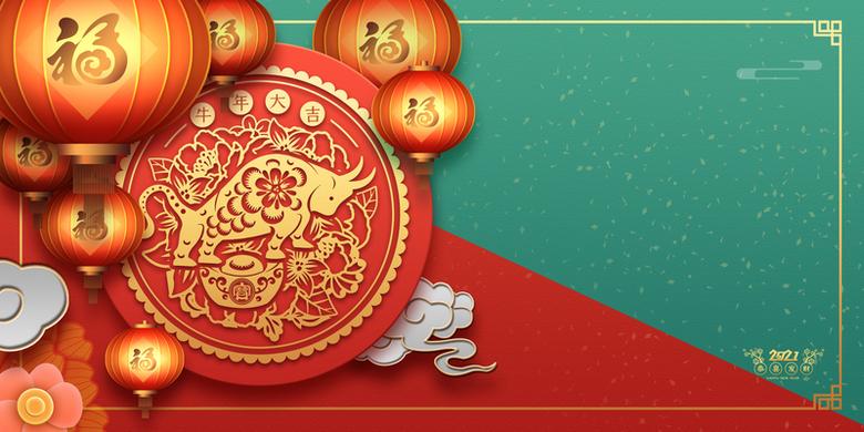 春节红绿撞色背景图