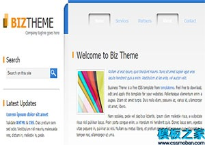 蓝白色清爽theme双列布局网站html模板
