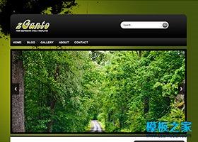 水墨背景绿色森林html5模板