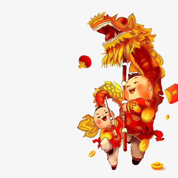 春节元宵舞龙插画